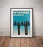 AZSTEEL Vintage Poster Myanmar - Mandalay - Fine Art Print