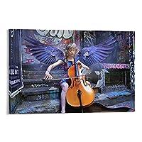 バイオリンを弾く少女天使キャンバスアートポスターとウォールアート写真プリントモダンファミリーの寝室の装飾ポスター,男子女の子の寝室の装飾画のキャンバスの壁の芸術のためのユニークなデザインのクールなポスター20x30inch(50x75cm)