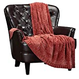 Chanasya Chenille Rust Brown Knit Throw Blanket - Super Soft Sweature Textured Classy Subtle Shimmer Decorative Knitted Blanket for Sofa Couch Bed Living Room Housewarming Gift (50x65 Inches) Cinnamon