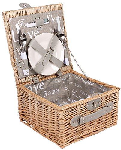 2 Personen Weiden Picknickkorb Picknickkoffer Set mit Besteck, Weingläsern, Tellern Etc