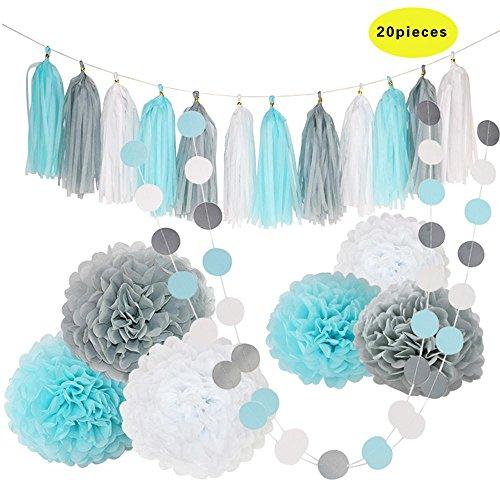 Rocwart - 20 adornos para fiestas con pompones de papel de seda (borlas y guirnaldas para fiesta de ducha de bebé), color blanco, gris y azul Fiesta de cumpleaños.