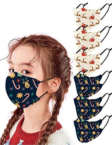6PCs Cute Cartoon Christmas Cloth Face Mask for Kids, Adjustable Washable Cloth Mask Xmas (Color 20 Christmas C)