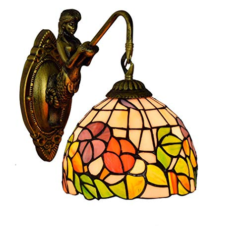 Tiffany Art Wall Light, Luces De Pared De Pintura De Vidrio Pastoral, Lámpara De Pie Lámpara De Cama Restaurante Barato De Barra Baño