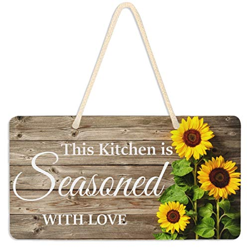 Emelivor Sunflower Kitchen Decor Seasoned with Love Sign Door Decor Hanging Wood Grain Welcome Sign Wall Pediment Sunflower Decorations for Home Kitchen Rustic Plaque