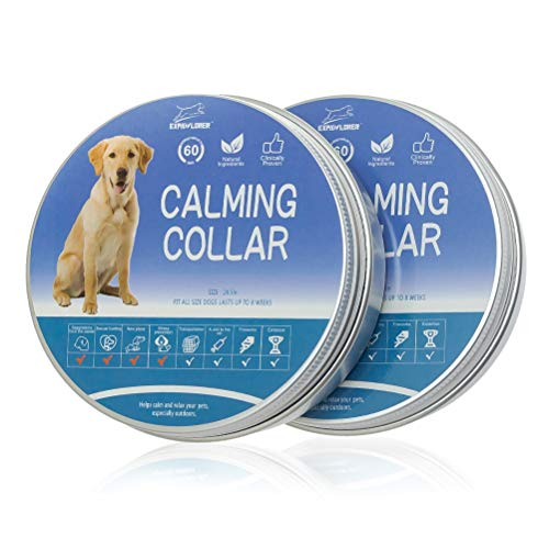 EXPAWLORER 2 Pcs Calming Collar for Dogs - Anxiety Relief - Long Lasting Effect Safety Pheromones Diffuser Adjustable Size for Small Medium and Large Dog (25 Inch)