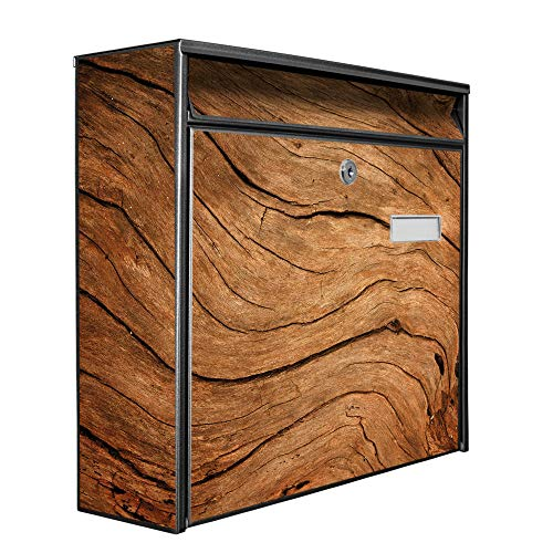 Burg Wächter Design Briefkasten | Postkasten 36x32x11cm groß | Stahl schwarz verzinkt mit Namensschild | großer A4 Einwurf, 2 Schlüssel | Trockenes Holz