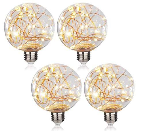 Kunzite Dekorative LED-Glühbirnen, G80 Globus-Lichterkette für Ambiente, Nachtbeleuchtung, E27 Standard-Edisonsockel mit sternenklare dekorative Lichterkette für Badezimmer, Schlafzimmer, Wohnzimmer
