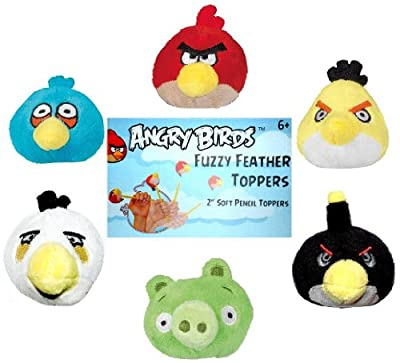 Angry Birds Plush Fuzzy Feather Toppers Flinger Set of 6 Officially Licensed By Rovio Model: