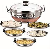 Ecom Stainless Steel Idli Cooker Multi Kadai Steamer with Copper Colour Bottom All-in-One