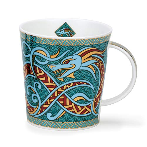 Dunoon Dragon - Taza de porcelana fina (320 ml), diseño de Lomond, color turquesa
