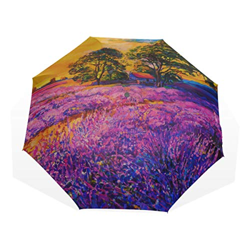 Rain Umbrella Girl Colorful Art Lavender Manor Oil Painting 3 Fold Art Umbrellas(outside Printing) Kids Rain Umbrella Foldable Umbrella For Travel Light Rain Umbrella
