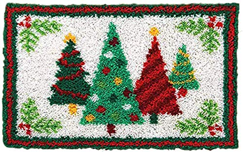 Latch Hook Kits for Adults Kids Funny Xmas Gift DIY Shaggy Crochet Kit for Home Decoration Rug,Christmas Tree(19.6''x14.1'')