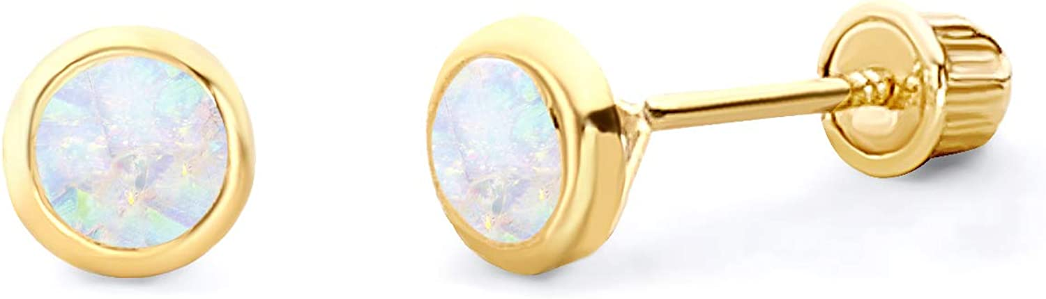 Wellingsale 14K Yellow Gold Polished Round Max 81% Max 45% OFF OFF Stud Wi Earrings Opal