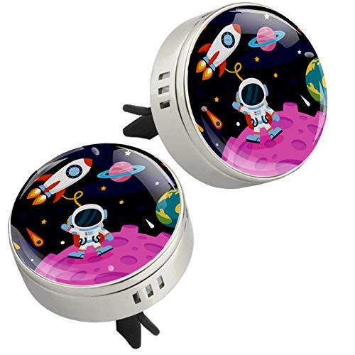 Z&Q Difusor de aromaterapia para Coche Planeta Cohete Alien ambientador con Clip de ventilación y Almohadillas de Recambio para el Interior del Coche 2 Unidades 33.8mmX46.4mm