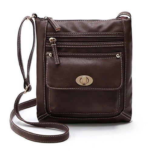 mochilas mujer Sannysis Bolso de cuero de la PU Bolsa de mensajero (Café)