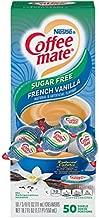 Nestle Coffee mate Coffee Creamer, Sugar Free French Vanilla, Liquid Creamer Singles, Non Dairy, No Refrigeration, Box of 50 Singles