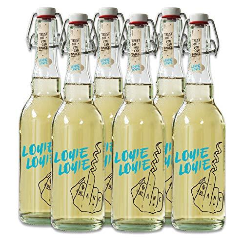 Louie Louie Wein Geschenk, Set aus 6 Flaschen Weißwein trocken, Bio & Vegan, mit Verschluss (6 x 0,5 l)