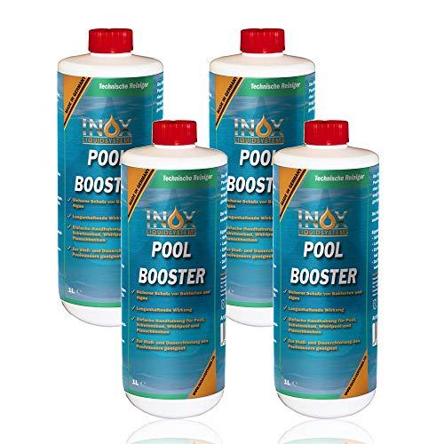 INOX® Pool Booster - 4 x 1L - Effektiver Algenvernichter Pool - Flüssiges Algizid für Pool - desinfizierendes Reinigungsmittel gegen Algen - Hochwirksame Pool Chemie
