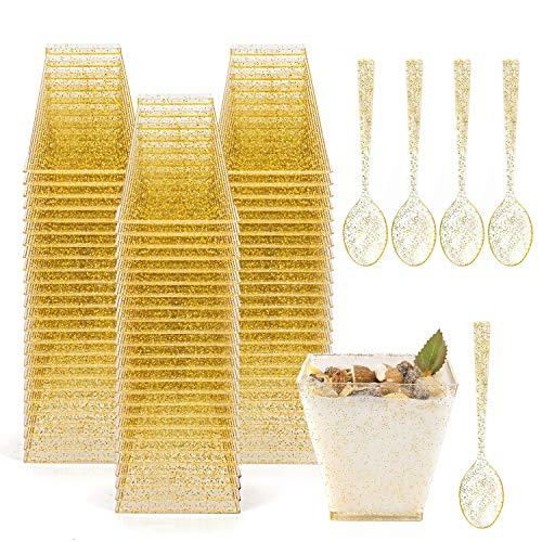 Tebery 100 Pack 8oz gouden glitter medium plastic dessert bekers met lepels vierkante dessert schalen voor het proeven partij desserts hapjes