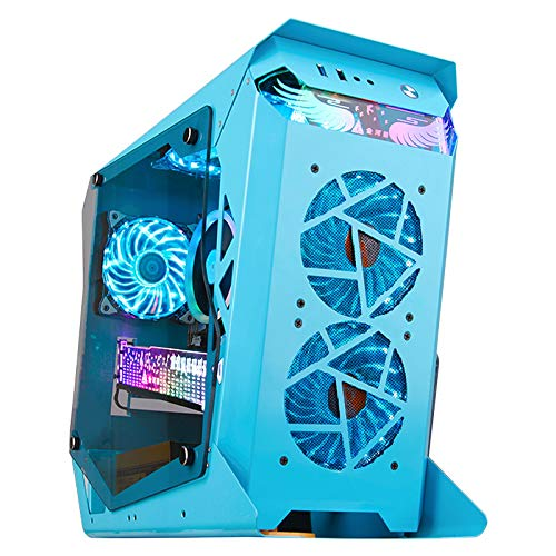 JF-TVQJ Computer Case Desktop Computer Case USB3.0 Water Cooling Gaming Case,Compact ATX Performance Computer Case,Tempered Glass Side Window - Steel Construction - Blue