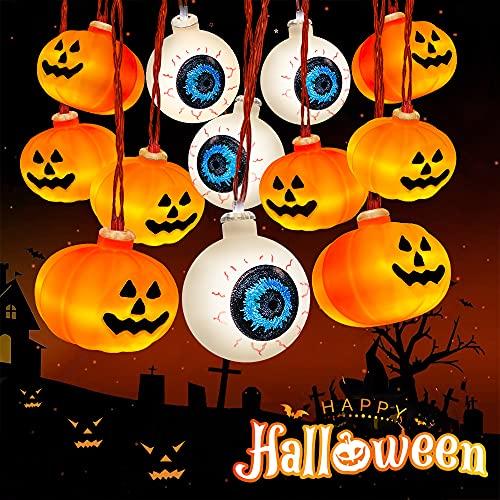 Halloween Decorations Lights, Hueliv 40 LED 21FT Orange Pumpkin String Lights, Eyeball Halloween String Lights Battery Operated 2 Modes for Indoor/Outdoor Party Yard Garden Holiday Halloween Decor is $12.99 (35% off)