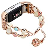 Imymax for Fitbit Charge 2 Bands Strap for Women Adjustable Wristband Handmade Night Luminous Pearl with Storage Pendant for Fitbit Charge 2 Smart Watch/Girls (Rose Pink)