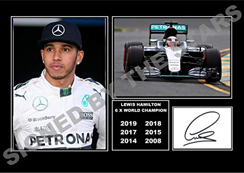 HWC Trading Lewis Hamilton Gift Signed A4 Printed Autograph Mercedes F1 Gifts Print Photo Picture Display Unframed Lewis Hamilton Celebration