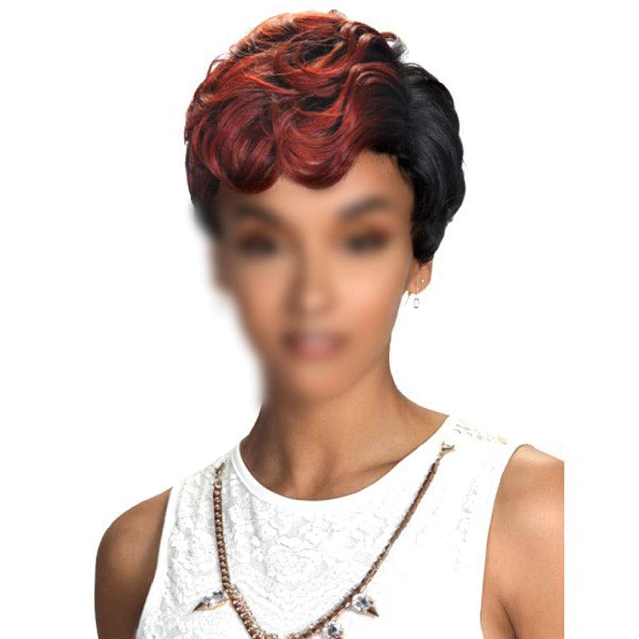 アラブ状無限WASAIO 女性用人工毛ウィッグボブヘッドショートカーリーアクセサリースタイル交換用ワインレッドコスプレパーティードレス (色 : ワインレッド)