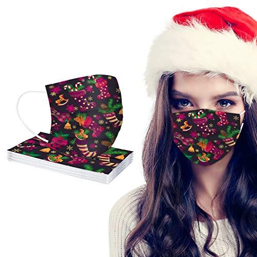 757 Niños 3 Capas Protección Bandanas Cómodo Respirable ??????????? con Elástico para Los Oídos para Actividades al Aire Libre,Impresión navideña(10/50/100 Piezas)