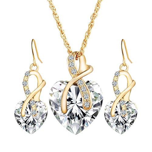 Emorias 1 Set Schmuckset aus Kristall in Herzform, Legierung, Weiß, Ohrringe, Halskette, Anzug, Geschenke, Schmuck, Accessoires