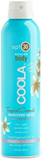 COOLA Organic Sunscreen & Sunblock Spray, Skin Care for Daily Protection, Broad Spectrum SPF 30, Reef Safe, Tropical Coconut