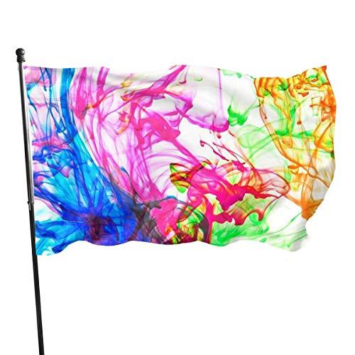 LL-Shop Farbe abstrakte Farbe Blumen Garten Flagge 3x5ft lebendige Farbe für den Innen- / Außenbereich | UV-geschützte Gartenfahnen