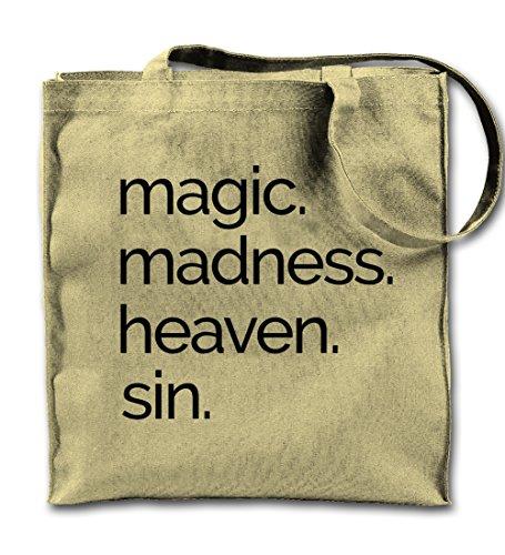 Teequote Magic Madness Heaven Sin Religion Cool Natürliche Leinwand Tote Tragetasche, Tuch Einkaufen Umhängetasche