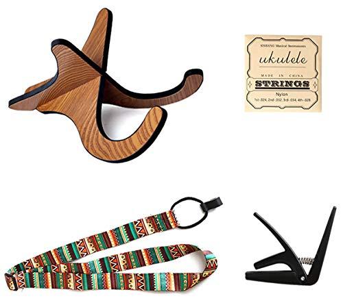 Miystn Soporte Guitarra Suelo, Guitar Stand, Soporte Guitarra Electrica con Cejilla Guitarra, Correa para Ukelele y Cuerdas de Ukulele (4 Piezas, Color Madera)