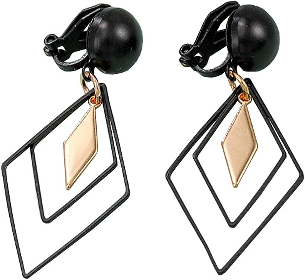 Long Dangle Clip on Earrings Black and Gold Geometric Leaf Drop Non Pierced Ears Hoop for Women Girls Gifts Bridal Wedding Chandelier Dangling Jewelry