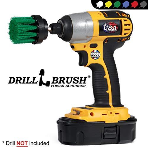 Drillbrush Long Green Borste 2 Zoll-Durchmesser Medium Stiffness Powered Reinigung Bohraufsatz Bürste für Akku-Bohrschrauber und Schlagschrauber grün-medium