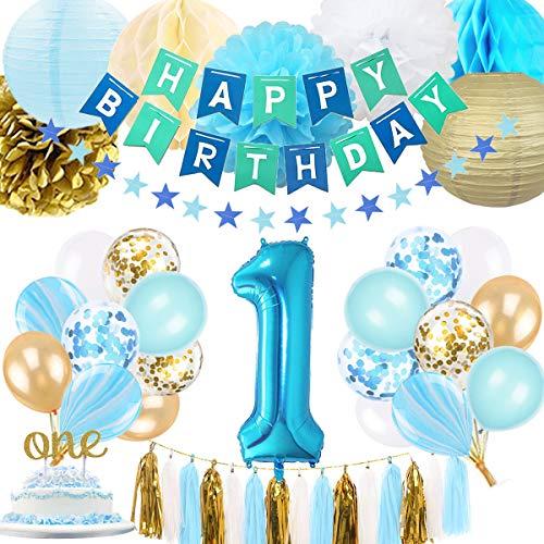 SZHUIHER 1 ° Compleanno Decorazione Ragazzo, Baby Boy Primo Compleanno Decorazione con Numero 1 Compleanno Palloncino per Blu e Oro Forniture per Feste Decorazione 1 ° Compleanno