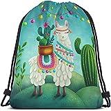Beabes Cute Alpaca Llama Drawstring Bags Backpack Bag Cactus Summer Plant Green Succulent Colorful Art Boho Animal Sport Gym Sack Drawstring Bag String Bag Yoga Bag for Men Women Boys Girls