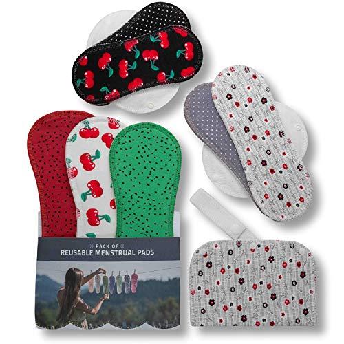 Waschbare Stoffbinden aus Baumwolle, 7er Pack Wiederverwendbare Damenbinden MADE IN EU, Reusable Sanitary Pads, dünn wieder Bio Stoff Binden für Menstruation, Inkontinenz, starke postpartale Blutung