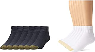 Gold Toe Men's 656P Cotton Quarter Athletic Socks, 6 Pack, Black, and White