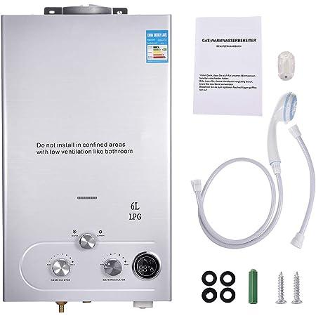 Calentador de agua de gas propano GLP sin depósito, calentador de agua caliente montado en la pared, con pantalla LCD que muestra la temperatura y ...