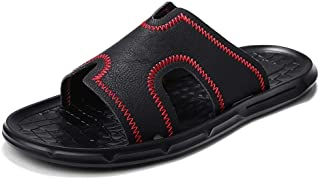 XueQing Pan Beach Slipper for Men Pool Water Shoes Microfiber with Hand Sewing Flexible Lightweight Breathable Waterproof Anti-Slip Casual Open Toe (Color : Black-red, Size : 6 UK)
