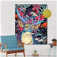 アートパネル ZXYFBH 抽象的なカラフルな 鹿の動物HDウォールアートキャンバスポスターとプリントキャンバス絵画オフィスの家の装飾のための装飾的な写真7.8x11.8in(20x30cm)x1pscフレームなし