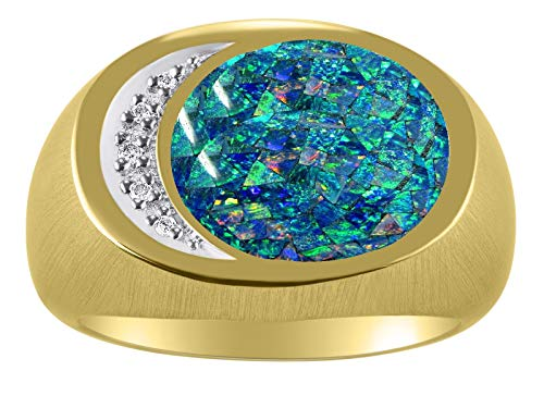 RYLOS Mens Rings Gold Plated Silver Designer Ring With Diamonds and Mosaic Opal Rings For Men Men's Rings Silver Rings Sizes 8,9,10,11,12,13 Mens Jewelry