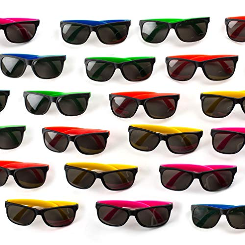 Neliblu 30 Pack Neon Bulk Kids Sunglasses With UV Protection - Party Favors - Bulk Pool Party Favors, Goody Bag Fillers, Beach Party Favors, Bulk Party Pack