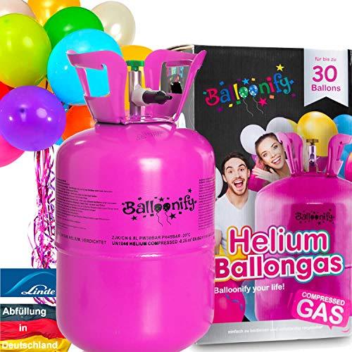 Carpeta BALLONGAS FÜR 30 Luftballons + 25 Ballons + FÜLLVENTIL | Helium Einweg Flasche Luftballon Folienballon Deko Geburtstag Party Hochzeit