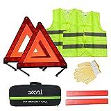 XOOL Safety Triangle Warning Kit,Car Roadside Emergency Kit with Reflective Warning Triangle,Visibility Roadside Vest, Storage Bag and Glove for Use Roadside Breakdowns Emergencies