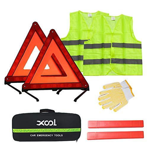 XOOL Safety Triangle Warning Kit, Car Roadside Emergency Kit with Reflective Warning Triangle,Visibility Roadside Vest, Storage Bag and Glove for Use Roadside Breakdowns Emergencies