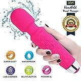 KACOOL Masajeador Eléctrica Recargable Magic Wand Massager/Con 20 patrones de vibración y 8 velocidades/Carga por USB/Alivio Mágico para el Estrés & Dolor Muscular para Mujer (Rosa)