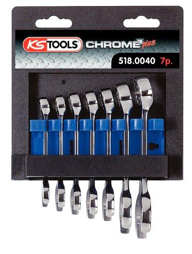 KS Tools 518.0040 ChromePlus Serie di Chiavi Combinate, Extracorte, 7 Pezzi, 10-19 mm